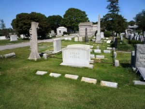 The Frank-Stern family plot where Leo Frank is buried in Mount Carmel Cemetery in New York City. The grave set aside for Lucille Frank is empty.