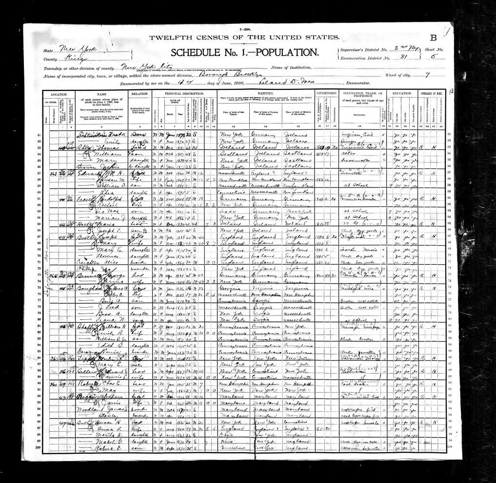 Leo Frank Census 1900