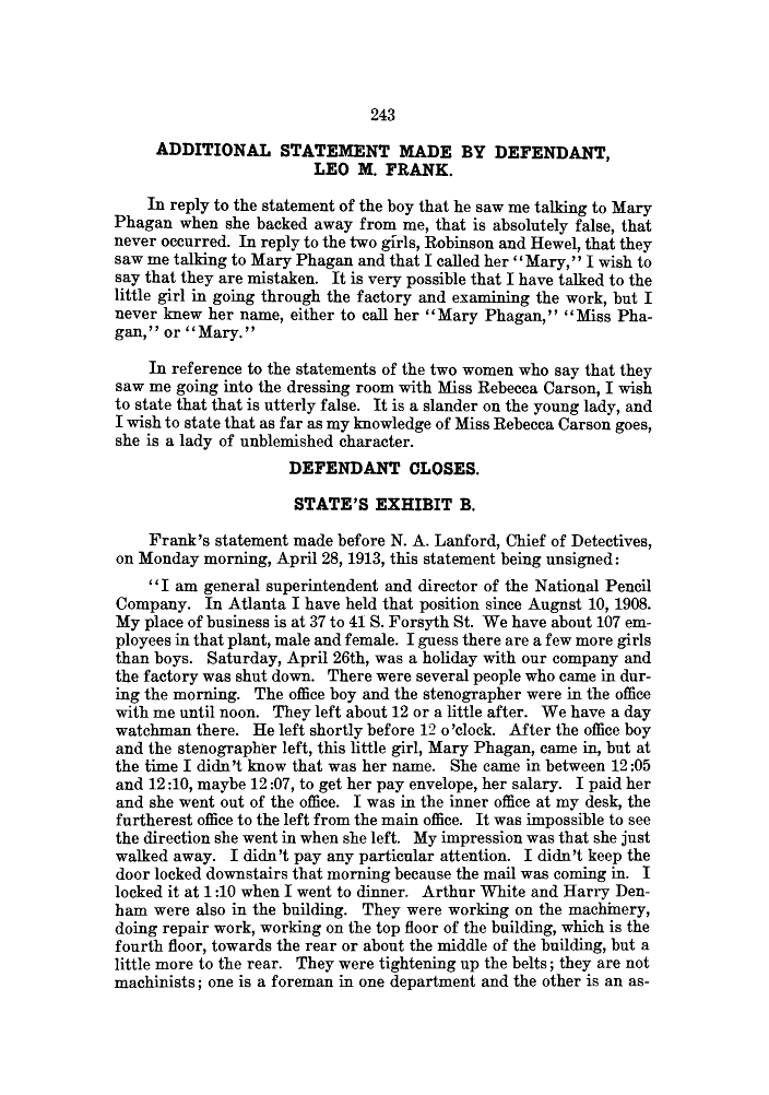 Leo Frank State's Exhibit B, part 1, Monday April 28, 1913