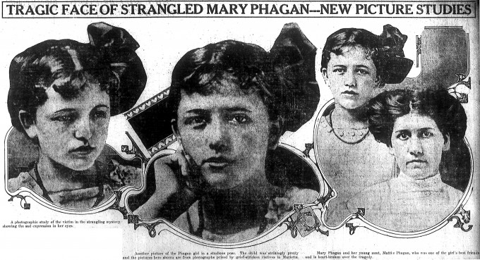 Three views of Mary Phagan during her brief life; far right, her aunt Mattie Phagan