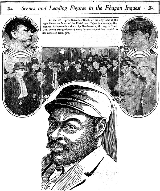 Detectives Black of the city (left) and Scott, of the Pinkertons (right); at the center is a scene from the inquest; at bottom is a portrait of Newt Lee -- on whom the pro-Frank forces were trying to throw suspicion in the early days of the case.