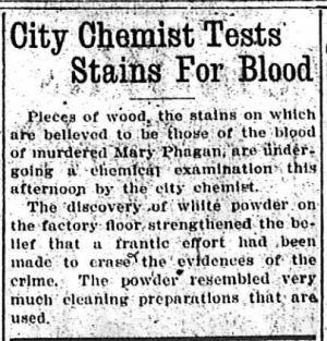 City Chemist Tests Stains for Blood