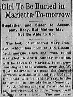 Girl to Be Buried To-morrow