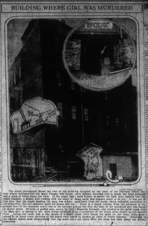 The above photograph shows the rear of the building occupied by the plant of the National Pencil factory where fourteen-year-old Mary Phagan was found early Sunday morning cold in death, her head battered and a piece of twine about her neck. In the upper right hand corner is shown the back door leading into the death chamber, a dismal hole reeking with the smell of damp earth that appears never to be dry. It was out of this door that the staple holding the hasp was drawn, apparently from the inside, which indicated, according to the detectives, that the assailant made his escape this way. There is a board runway from the entrance to the ground floor of the basement and it was at the extreme end of this that the body of the murdered girl was found as shown above. Strands of golden hair, sworn by Little Magnolia Kennedy, who worked in the metal room with the slain girl, to belong to her, were found entwined from a projection of the bench lathe shown on the second floor. Across the room, just at the corner of a small closet were found the spots on the floor, later determined to be blood when particles of the board were tested in alcohol by Chief of Police Beavers. Employes [sic] of the factory stated most emphatically that the spots were not there after the room had been swept out Friday afternoon.