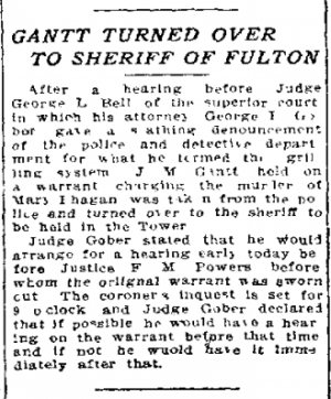 Gantt Turned Over to Sheriff of Fulton