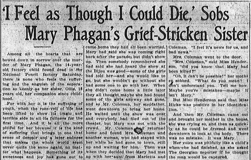 'I Feel as Though I Could Die,' Sobs Mary Phagan's