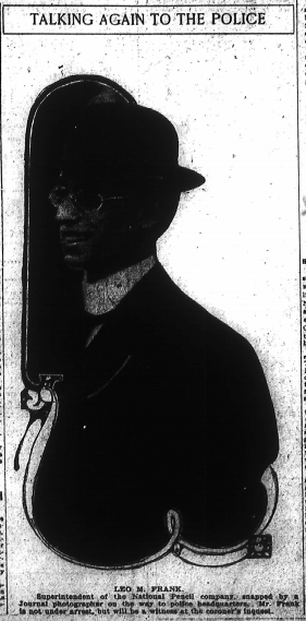 Leo M. Frank. Superintendent of the National Pencil company, snapped by a Journal photographer on the way to police headquarters. Mr. Frank is not under arrest, but will be a witness at the coroner's inquest.