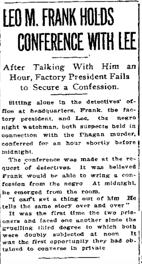 Leo M Frank Holds Conference with Lee