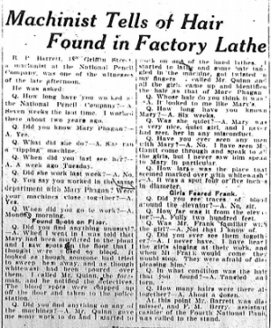 Machinist Tells of Hair Found in Factory Lathe