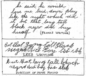 Negro Watchman Wrote Note Beside Dead Girl