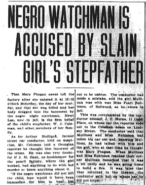 Negro Watchman is Accused by Slain Girl's Stepfather
