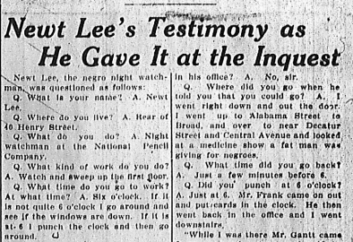 Newt Lee's Testimony as He Gave it at the Inquest