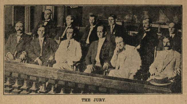 The jury listens intently to the testimony in the Leo Frank case.