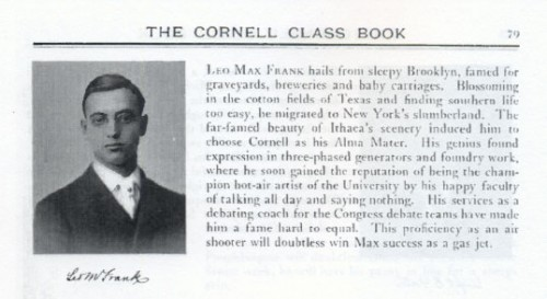 "Leo Frank's reputation as a ""hot air artist"" -- and service as a debating coach -- shown in his college yearbook entry"