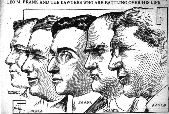 Leo Frank, center, and the legal minds arrayed for and against him