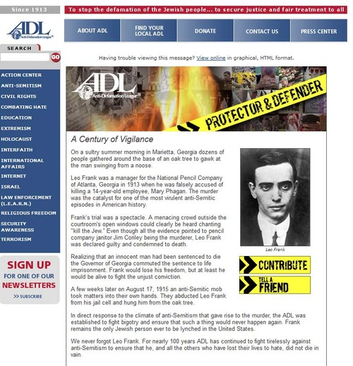 Screen shot illustrating specious ADL claims of anti-Semitism. No contemporary reporter recorded such homicidal rages, and the jury explicitly denied they ever existed.