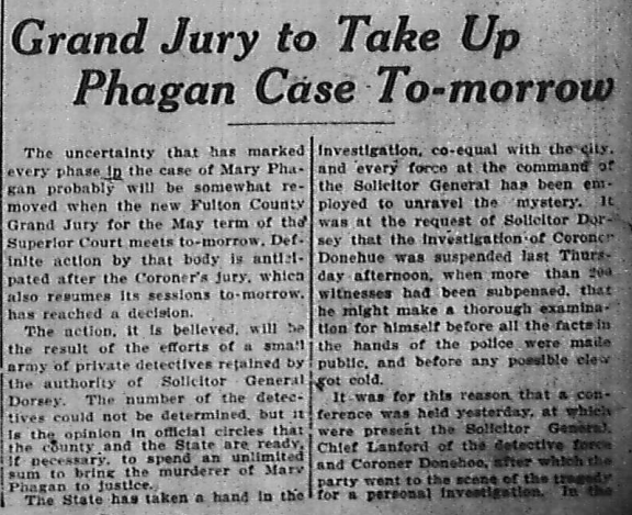 Grand Jury to Take Up Phagan Case To-morrow