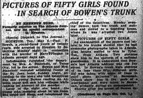 Pictures of Fifty Girls Found in Search of Bowen's Trunk
