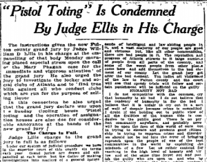 Pistol Toting is Condemned by Judge Ellis in His Charge