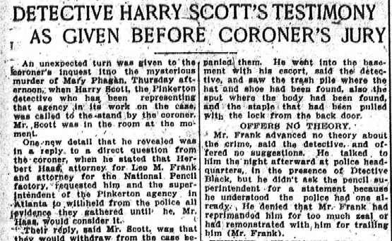 Detective Harry Scott's Testimony as Given Before