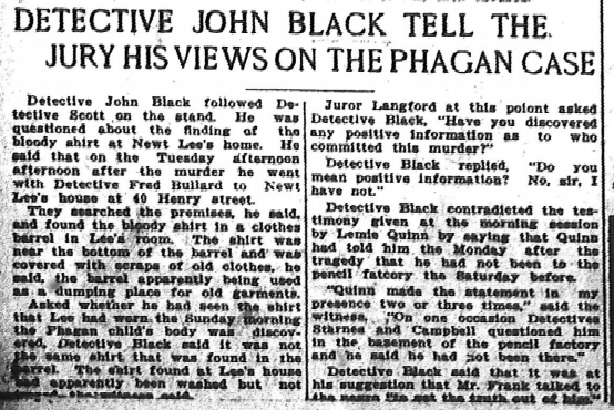 Detective John Black Tell the Jury His Views on the Phagan Case