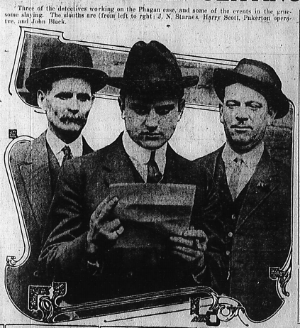 Three of the detectives working on the Phagan case, and some of the events in the gruesome slaying. The sleuths are (from left to right: J. N. Starnes, Harry Scott, Pinkerton operative, and John Black.