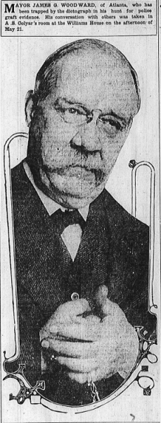 Mayor James G. Woodward, of Atlanta, who has been trapped by the dictograph in his hunt for police graft evidence. His conversation with others was taken in A. S. Colyar's room at the Williams House on the afternoon of May 21st.