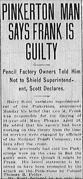 Pinkerton Man Says Frank Guilty