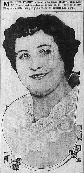 Mrs. Nina Fomby, woman who made affidavit that Leo M. Frank had telephoned to her on the day of Mary Phagan's death trying to get a room for himself and a girl.